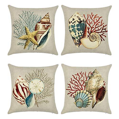Handfly 4 Paquetes de Fundas de Almohada de algodón y Lino para sofá y Cama, decoración del hogar, 45,7 x 45,7 cm, Fundas de cojín, Serie Sea