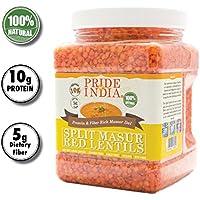 Pride Of India indio división masur lentejas rojas proteína y fibra rica dal masoor, tarro 1,5 libra