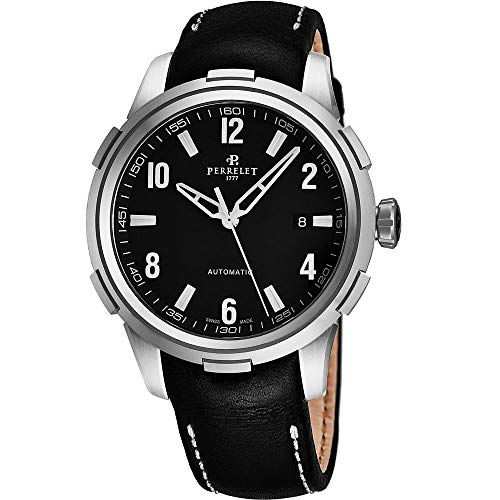 Perrelet Men's Class-T 42mm Leather Band Steel Case Automatic Watch A1068-2