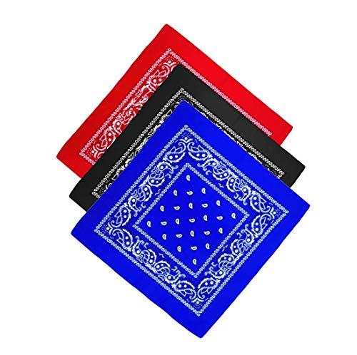 Unbekannt Pañuelo para la cabeza, pañuelo para el cuello, pañuelo para motoristas, diferentes Colores Paisley modelo 3er Set #1 Talla única