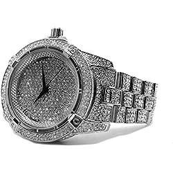 Millionaires Faux Diamant Lünette, versilberte Metall Strap HipHop Bling Armbanduhr