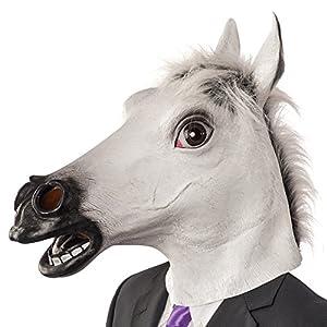 Carnival Toys - Máscara de látex caballo en bolsa con encabezado, color blanco (1403)