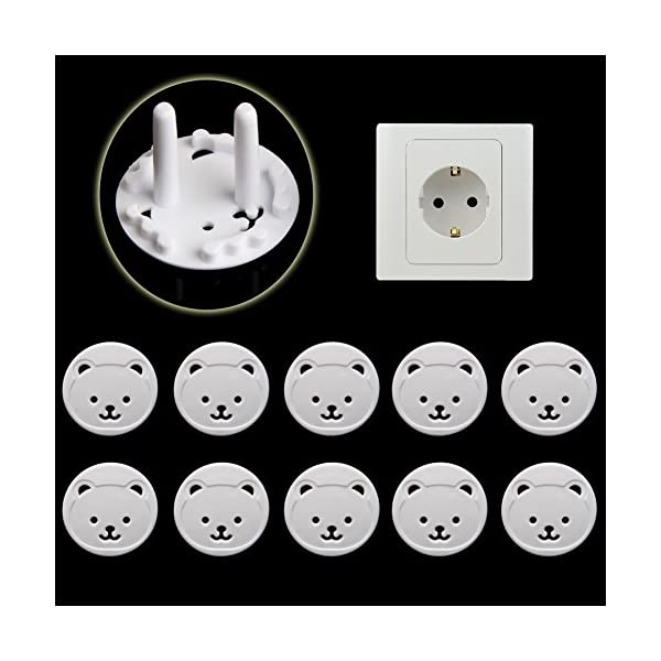 RROVE 10X Power Kid Socket Cover Baby Child Protector Guard Mains Point Plug Bear Nuevo 4