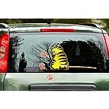 quattroerre 1246pegatinas Funny Wipers gato para lunas trasera coche, Gato Amarillo
