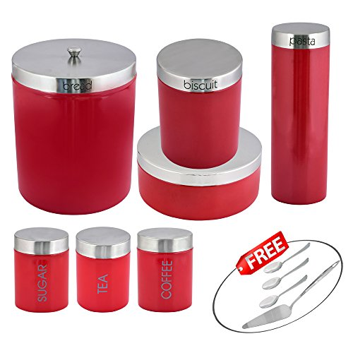Kosma 7 Pc Stainless Steel Storage Canister Set | Kitchen Storage Canister Jars Pots Set In Vibrant Red Colour - Bread Bin, Biscuit Canister, Pasta Jar, Cake Tin, Tea Sugar Coffee Canister With