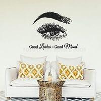 Goodn Lashes Good Mood Eyes Eyelashes Lashes Extensions Eyebrows Make upArt Vinyl Women Bedroom Decor Wall Sticker 57X77cm