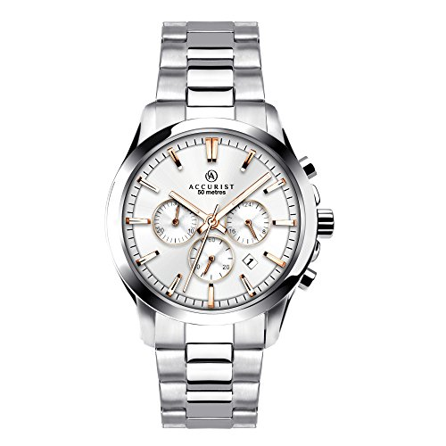 Accurist Men's Quartz Watch with Silver Dial Chronograph Display and Silver Stainless Steel Bracelet 7204