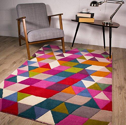 Alfombra de Lana Contemporaneo Diseño Geometrico Multicolor 3 Tamaños