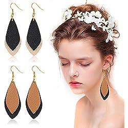 Pendientes colgantes de cuero Beelittle Pendientes de cuero con forma de lágrima de hoja antigua para mujeres niñas (Double Layer-A)