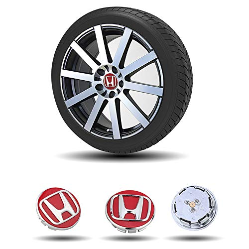 QWESHTU 4X Radkappen ABS Beschichtungsmaterial Mit LED Für Honda Radlichter Accord Civic Crown Road XRV CRV Binzhi,Red (Civic Honda Radkappen)