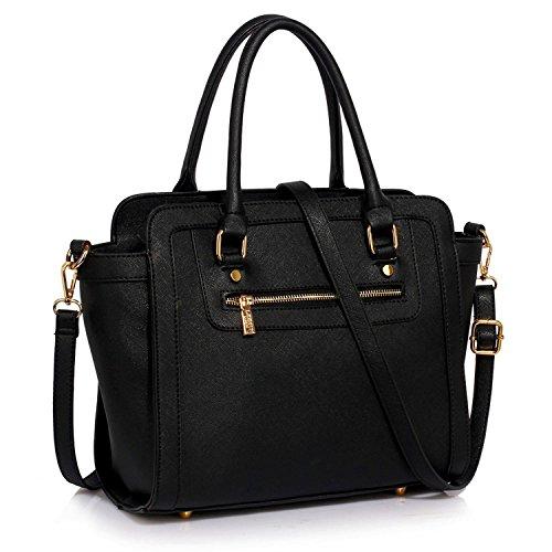 xardi London Monochrome Multi Donna in Pelle Sintetica Borse A Spalla Grab Bags Black Style 1