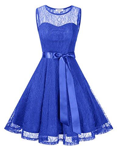 KoJooin Damen Elegant Kleider Spitzenkleid Brautjungfern Kleid Festliches Kleid Cocktailkleid Abendkleid Knielang Blau Spitzenschicht XL