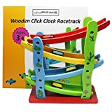 JJPRIME - Wooden Colourful Baby Kid Toddler Click Clack Zig Zag Race Car Track Slider Toy Game Christmas Xmas Gift Present
