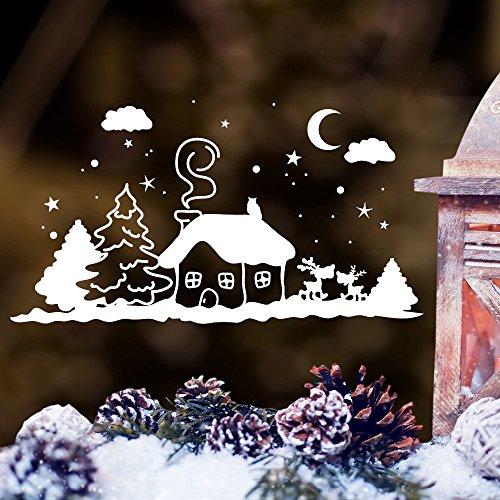 """Wandtattoo Loft Fensterbild \""""Winter Häuschen mit niedlichen Hirschen\"""" - Fensteraufkleber zur weihnachtlichen Dekoration in der Adventszeit Wandtattoo / 49 Farben / 3 Größen / weiß / 20 cm hoch x 37 cm breit"""