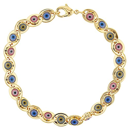 Tono oro perline multicolor Turco protezione occhio malvagio Bracciale da donna