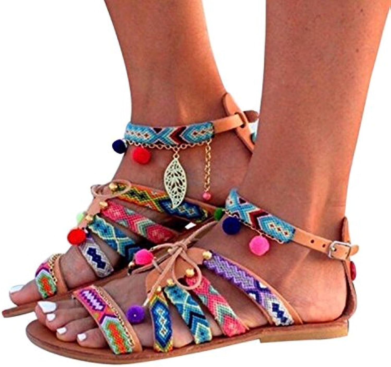 Dingcaiyi Womens Flachen Sandalen Sommer Herbst Vintage Schuhe Boho Roman Flip Flops Wohnungen Thong Beach Schuhe