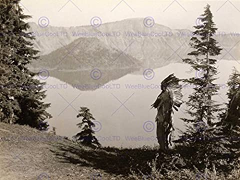 VINTAGE PHOTO LANDSCAPE CRATER LAKE OREGON NATIVE AMERICAN NEW FINE