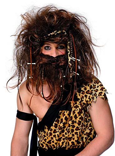 Luxuspiraten - Kostüm Accessoires Zubehör verückter Höhlenmensch Neandertaler Set mit Perücke, Bart, Stirnband, Knochen und geflochtene Zöpfe, perfekt für Karneval, Fasching und Fastnacht, Braun (Fred Und Barney Halloween-kostüme)