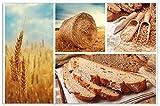 Wallario Herdabdeckplatte / Spritzschutz aus Glas, 1-teilig, 80x52cm, für Ceran- und Induktionsherde, Motiv Weizen und Mehl Vom Korn zum Brot