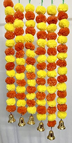 SPHINX Artificial Marigold Fluffy Flowers and Golden/Silver Hanging Bells Garlands/Torans/Wall hangings for Decoration Approx 2.5 ft- Pack of 6 Strings (Yellow & Dark Orange)