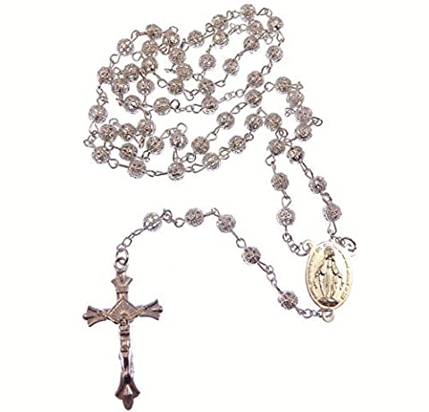 Silver metal decorative filigree rosary beads Miraculous and Sacred heart centre Catholic