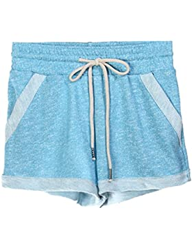 Donna Casuale Sport Curling Pantaloncini Coulisse Vita Elastica Fitness Yoga Pantaloni Corti Hot Pants Pink Blu S