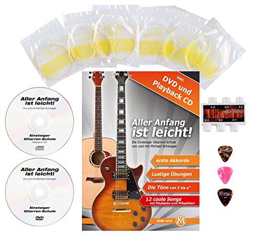 Classic Cantabile AS-851 4/4 Konzertgitarre Starter Set (Komplettes Anfänger Set mit Klassik Gitarre, Gigbag Tasche, Nylonsaiten, Lehrbuch/Schule inkl CD und DVD, 3x Plektren und Stimmpfeife) - 6