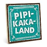 TypeStoff Holzschild mit Spruch - PIPI-Kaka-Land - im Vintage-Look mit Zitat als Geschenk und Dekoration (Größe: 19,5 x 19,5 cm)