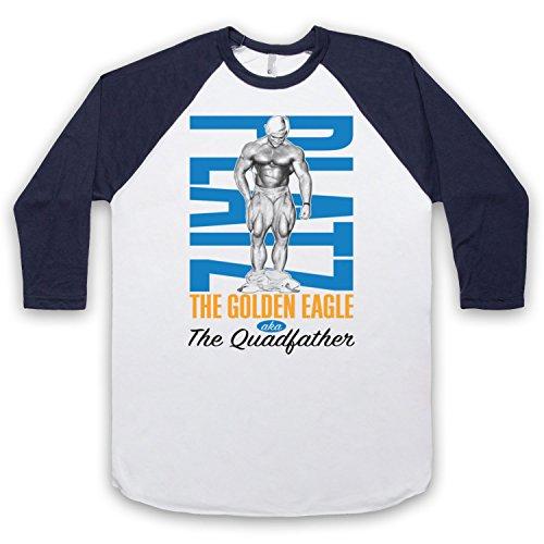 Inspiriert durch Tom Platz The Golden Eagle The Quadfather Bodybuilder Unofficial 3/4 Hulse Retro Baseball T-Shirt Weis & Ultramarinblau