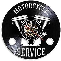 Registro de reloj de pared Servicio de motocicletas Cartel colgante Taller Reloj de pared Reparación de motos Reloj de registro de vinilo Garaje Reloj de pared decorativo Reloj de pared de vinilo