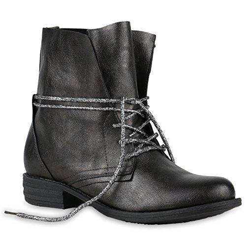 Damen Stiefeletten | Worker Boots Leder-Optik | Knöchelhohe Stiefel Camouflage | Booties Bockabsatz Spitze | Gr. 36 - 42 Silber