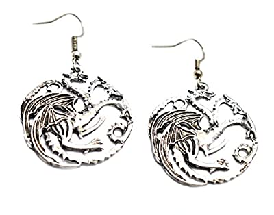 Game Of Thrones Inspired Earrings - Three Headed Dragon - Song of Ice and Fire Vintage Targaryen Khalesi's Dragons