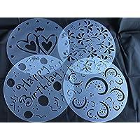 Para tartas de plantillas de diseño de la decoración de la torta 4er juego de cumpleaños feliz Bithday de flores de primavera con diseño de corazones con diseño de ornamento de Royal House nuevos productos de