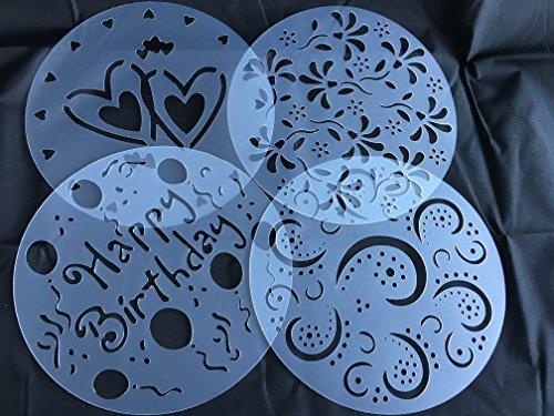 Torten-Schablonen-Tatoo-Kuchen-Dekoration-4er-Set-Geburtstag-Happy-Bithday-Frhling-Blumen-Herzen-Muster-Verzierung-von-ROYAL-HOUSEWARE