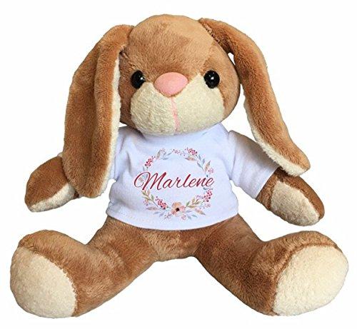 Stofftier Hase mit Name personalisiert, Geschenkidee zur Geburt, Taufe, Geburtstag, Ostern,... (Kleinkind-t-shirt Bauernhof,)