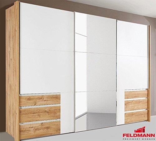 Schwebetürenschrank 638267 Kleiderschrank Level 3-türig plankeneiche / weiß 300cm