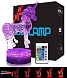 LED Lámpara de Mesa 3D Unicornio con Control Remoto Sensor Tacto, USlinsky Regulable...