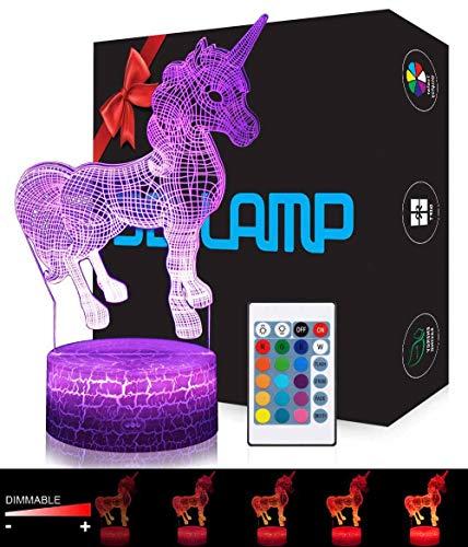 Licorne 3D Lampes avec Télécommande, USlinsky LED Lampe 7...