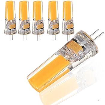 ZHMA 5 bombillas LED G4 3.5W, COB bombillas, Equivalentes a Lámparas Halógenas de 35W,Blanco cálido 3000k,320LM,AC/DC 12V
