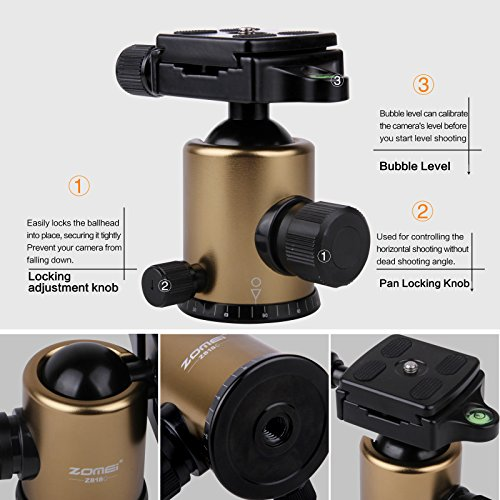 Zomei Portable Carbon Fiber Camera Tripod With Ball Head Pocket – Z818C (Gold) on Amazon