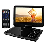 "COOAU 12.5"" Portable DVD Player with 360� Swivel Screen, 5 Hours Built-in Rechargeable Battery, Supports SD Card/USB/Sync TV with Remote Control and Game Controller, Direct Play in Formats AVI/RMVB/JPEG/MP3, Black"