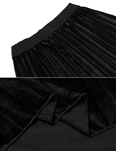 Unibelle Damen A Linie Rock Maxirock gefaltete Röcke Elastische Taille Plisseerock Lang Schwarz