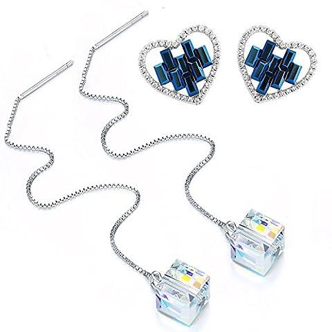 STAR SANDS Zwei Paar Ohrringe mit Kristallen von Swarovski -Montana blau Herz Ohrring Stud + Aurore Boreale Regenbogen Weiß Würfel Ohrring Wire