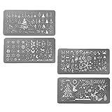 4 pcs maniküre nagel design schablone Weihnachten Santa Xmas Stahl Nail Art Stamping Platten Set
