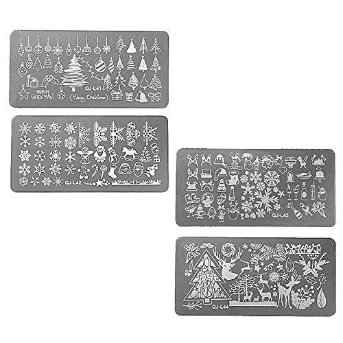 l design schablone Weihnachten Santa Xmas Stahl Nail Art Stamping Platten Set (Santa Platten)