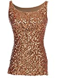 Anna-Kaci Womens Sparkle & Shine Glitter Sequin Embellished Sleeveless Round Neck Tank Top