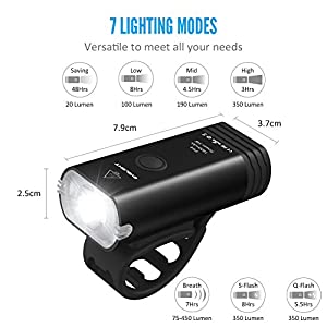 Bike Lights, BYBLIGHT USB Rechargeable LED Bicycle Torch Light Set, 350 Lumen Front Headlight and Back 120 Lumen LED Tail Light, Cycling Lights for Road & Mountain