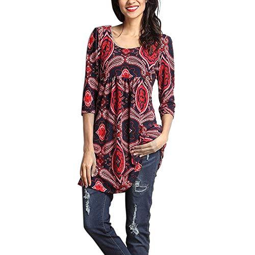 Geili Damen Herbst Freizeit O-Ausschnitt 3/4 Arm T Shirt Mode Gedruckt Lang Große Größe Bluse Dünn Tunika Tops Rundhals Oberteile (Top Gedruckt Strass)