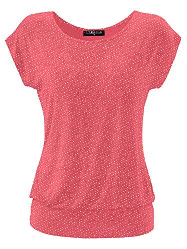 Fleasee Damen T-Shirt Kurz Ärmel Bluse Stretch Lässig Tunika Allover Druck Oberteile Top L Pink Gepunktet