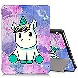 ZhuoFan Coque Huawei Mediapad T3 10 Housse de Protection Origami Étui en Cuir avec Support Multi-Angle Stand [Anti Choc] Case Cover pour Tablette Huawei Mediapad T3 10 9,6 Pouces, Licorne